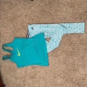 Nike Capri workout pants and top